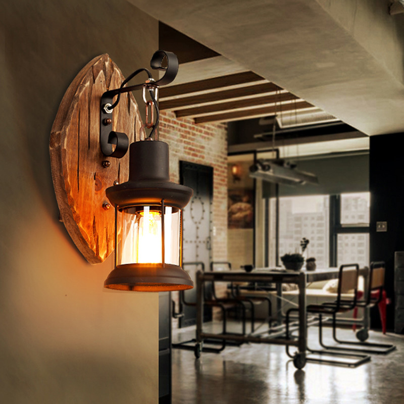 Wooden <font><b>Wall</b></font> <font><b>lamp</b></font> For Studio Coffee Bar Restaurant industrial <font><b>wall</b></font> sconces Indoor outdoor <font><b>vintage</b></font> lantern <font><b>lamp</b></font> retro <font><b>wall</b></font> light image