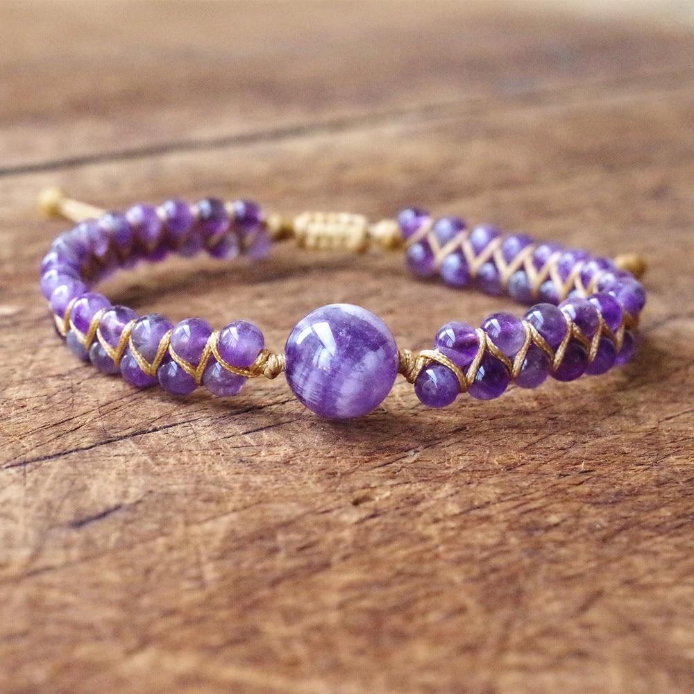 Natural Stone String Beads Braided Yoga Bracelet & Bangle Women Men Handmade DIY Jewelry Bohemia Charm Warp Bracelet Friendship