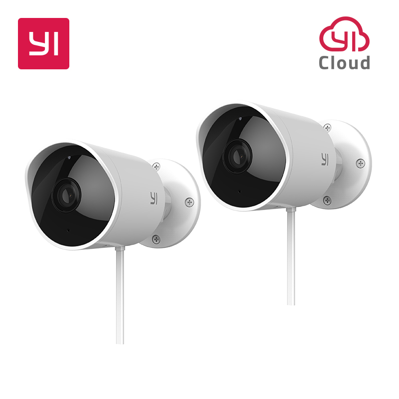 YI Outdoor Security Camera 2pc 1080P 2.4G Wi-Fi IP Waterproof Night Vision Surveillance System 6 Months Cloud Included