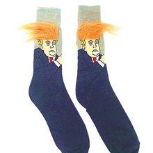 Men Women Funny Novelty American President Messy Fake Hair Long Crew Socks Inspi