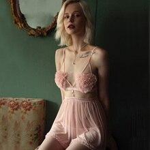 Seksowna bielizna nocna kobiece lato cienki pasek do pończoch sukienka wieczorowa krótki powrót seksowne ubrania domowe z majtkami koszule nocne