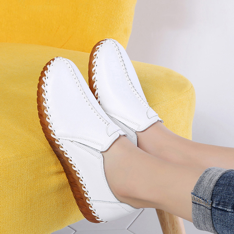 New Solid Color Womens Shoes Flats Autumn PU Leather Casual Women Loafers White Ladies Shoes Footwear Zapatos Mujer VT669 (1)