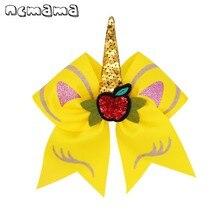 ncmama Sequin Unicorn Hair Bows for Girls BACK TO SCHOOL 7 Yellow Large Cheer Hairgrips Cute Apple Cartoon Kids Headwear
