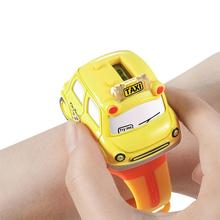 Creative Car Watch Toy Botton Control Mini Alloy Bus Pull Back Car Model with Mu