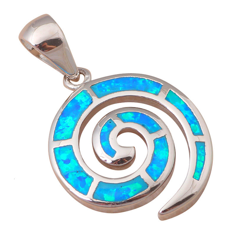 Розничная и синий огненный опал Серебро штампованное Ожерелье Подвески для женщин модные ювелирные изделия для вечеринки день рождения OP271