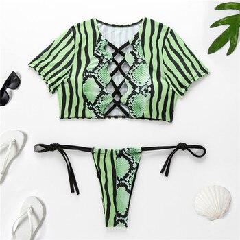 Bikini Swimwear Women Short Sleeve Snake Print Bikini 2020 Female Swimsuit Stripe Two-pieces String Bikini Set Bathing Suit 1
