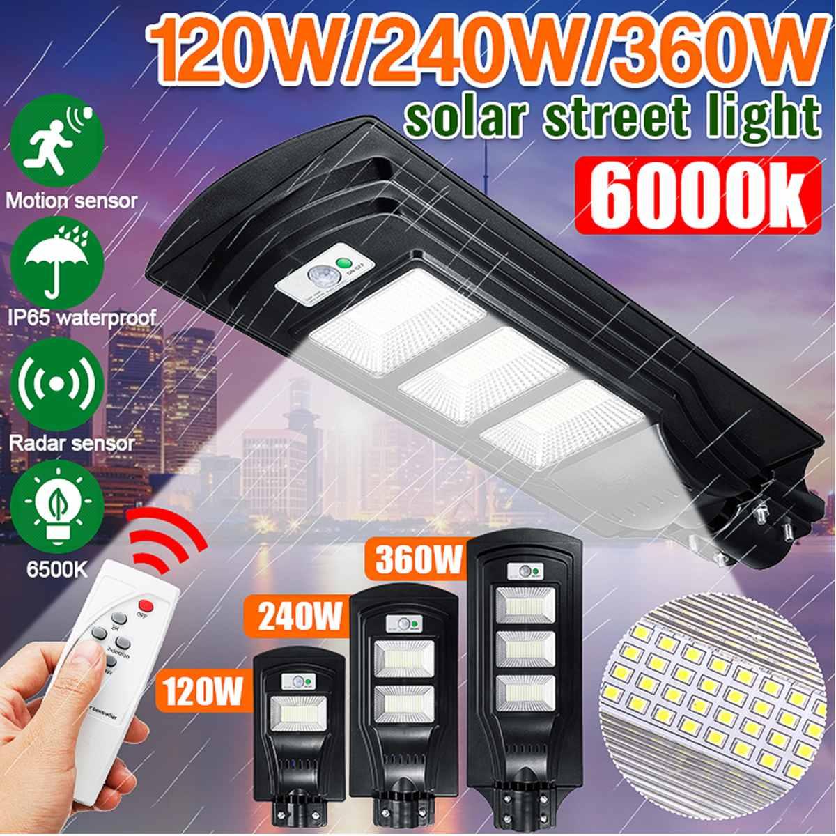 120W/240W/360W 117/234/351 LED Solar Street Light LED Light Radar PIR Motion Sensor Wall Lamp+Remote Waterproof For Plaza Garden