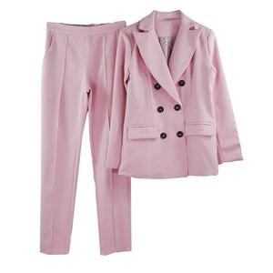 Image 4 - MVGIRLRU ofis Lady Blazer pantolon takım elbise kadın çentikli yaka düğmeleri ceket ve düz pantolon 2 parça setleri