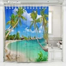 Blue Sky and Sea Beach Shower Curtains for Bathroom Shower Curtain Washable Bath Decor Polyester Fabric Bathroom Curtain Coconut window scenery coconut tree shower curtain and rug