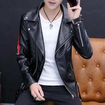 Faux Leather Men's Moto Biker Jacket Striped Patchwork Coat Slim Fit Handsome Jackets Black White Coats A39