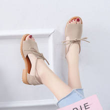 2021 Summer Fashion Design Women Wedges Shoes Open-Toed Leisure Lace-Up Ladies Roman Style Temperament Sandals