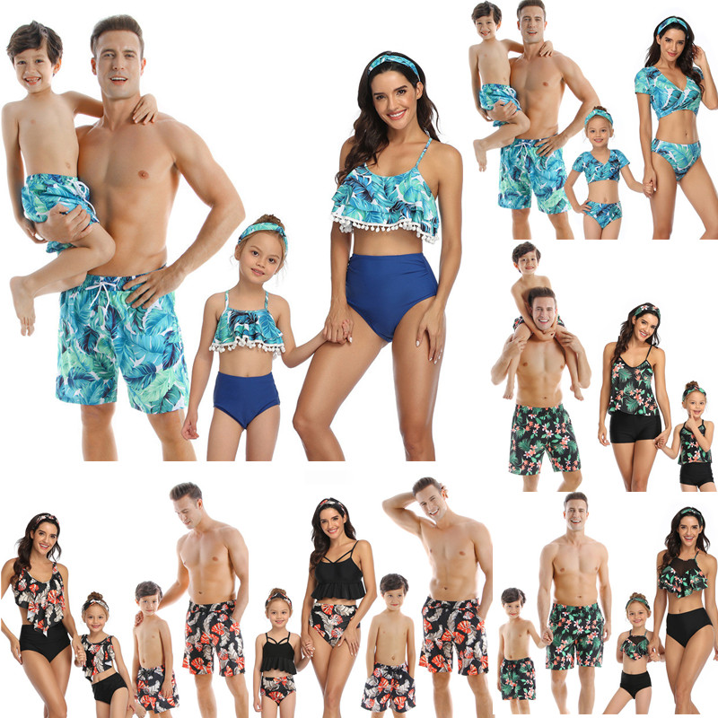 Family Matching Swimsuit Beach Holiday Tassel Leaf Mom Daughter Dad Son Swimwear Shorts Girl Boy Men Women Couples Beahwear