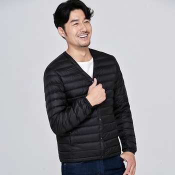 2019 Man Down Jackets V Lead Long Sleeve Frivolous Fund Short Loose Coat Portable Male Fund