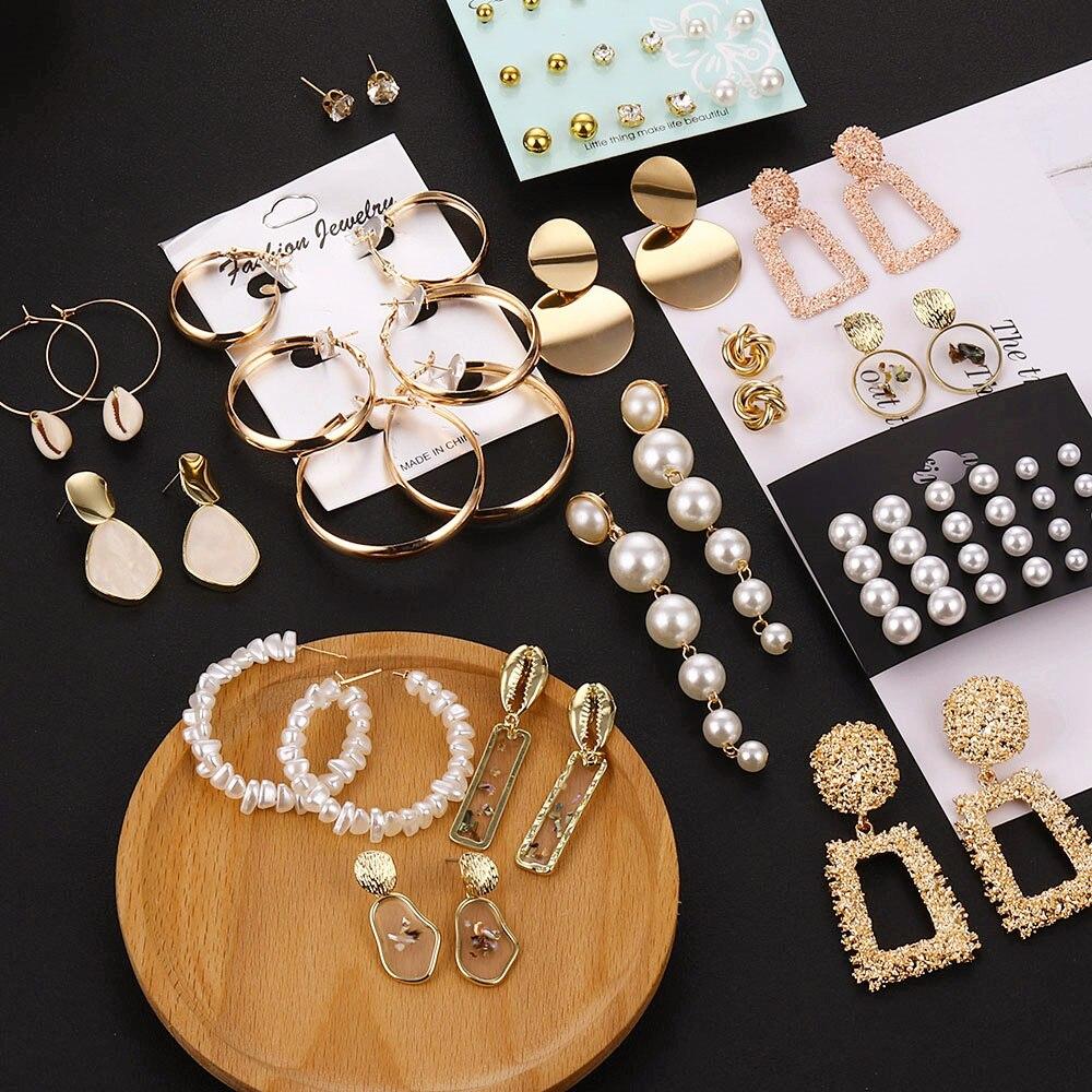 VKME Korean version of the new earrings Geometric embossed round earrings personality trend wild fashion earrings