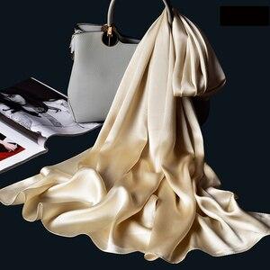 Image 2 - 100% Real Silk Scarf Women Bufanda,Hangzhou Silk Shawls,Wraps for Lady Solid Neckerchief Natural Silk Satin Scarf Foulard Femme