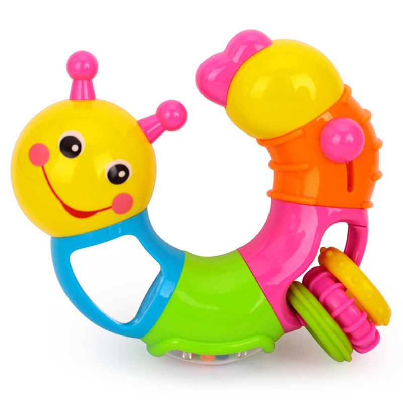 Worm Rattle Toys Baby Toys 6 To 12 Months With Rotary Head, Holding Rings, Colorful Beads, Small Mirror And Twisting Game