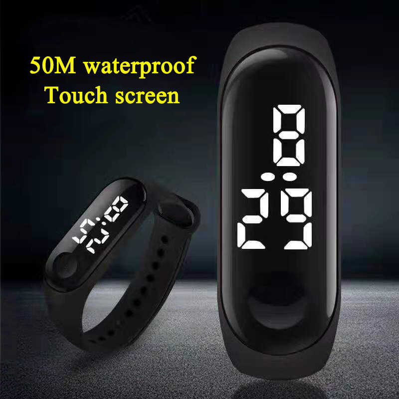 50M wodoodporny zegarek męski LED Sport cyfrowy zegarek kobiety dzieci Fitness zegarek z ekranem dotykowym silikonowy pasek do zegarka dla dzieci