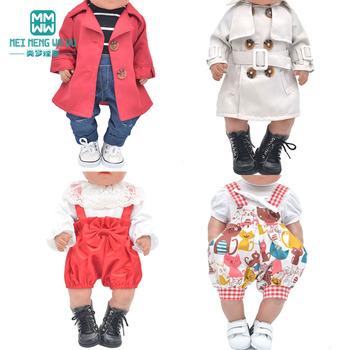 Ubrania dla lalki dla 43-45cm zabawki noworodki lalka i amerykańska lalka płaszcze spódnice dżinsy T-shirt prezent dla dziewczyny tanie i dobre opinie meimengwawu Tkaniny CN (pochodzenie) 43cm Styl życia Akcesoria Suit Akcesoria dla lalek