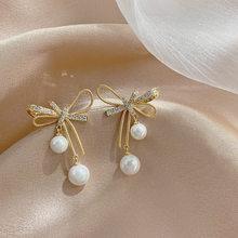2021 New Arrival Metal Trendy Bowknot Women Dangle Earrings Korean Earrings Pearl Earrings Korean Elegant Jewelry