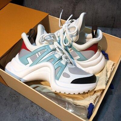 YS 920042 Platform 6CM Sneakers Geen Logo Sport Running Casual Schoenen Echte Koe Lederen Schapenvacht Binnenzool vrouwen Vulcaniseer schoenen - 6