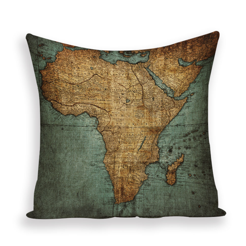 World map and travel-themed cushion covers
