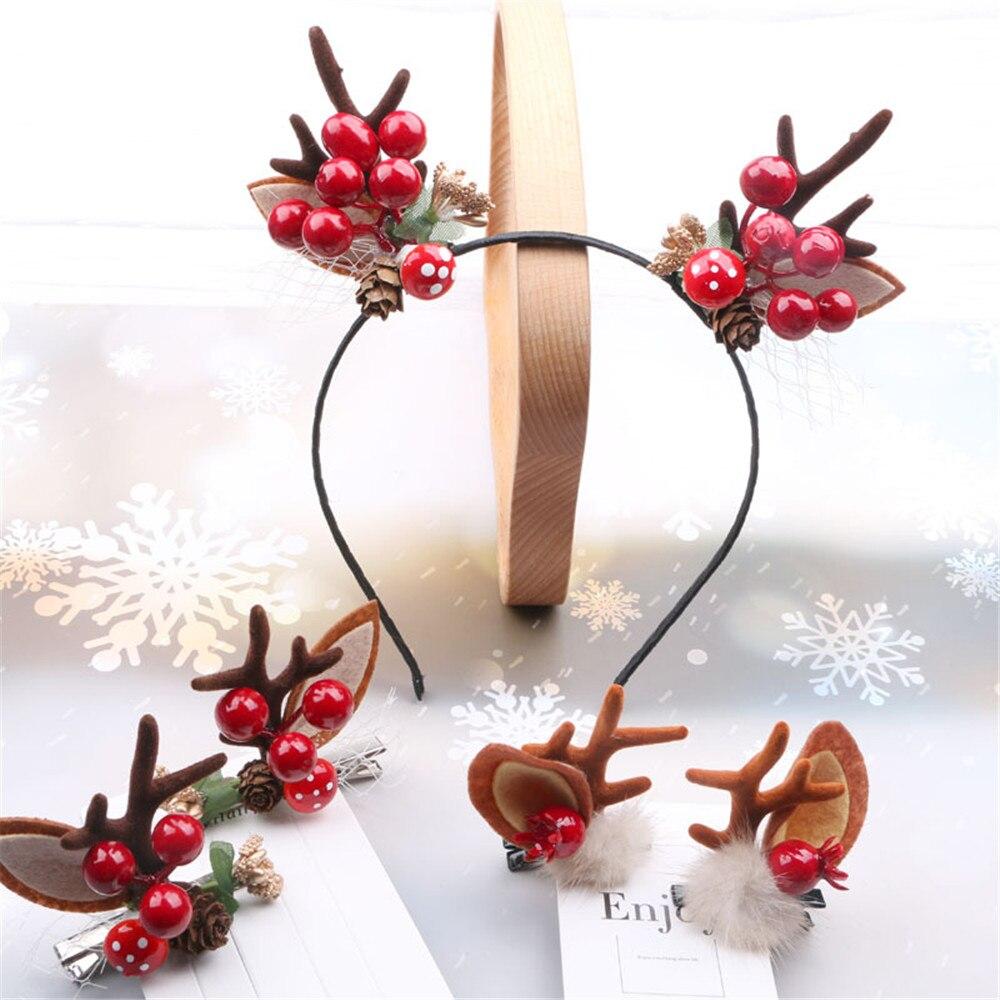 1 пара детских хлопковых колготок, милая Пижама с рождественским принтом, пижама Рога заколки на новый год, Женские аксессуары для волос для ...
