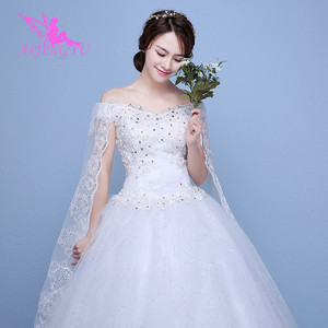 Image 1 - AIJINGYU 2021 real photos new hot selling cheap ball gown lace up back formal bride dresses wedding dress WK595