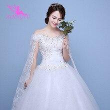 AIJINGYU 2021 صور حقيقية جديدة رائجة البيع ثوب كرة رخيصة الدانتيل حتى الظهر فساتين العروس الرسمية فستان الزفاف WK595