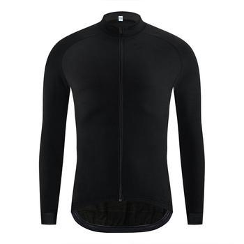 Chaqueta térmica de invierno Chaqueta de ciclismo negra pura de invierno para hombre Ropa de bicicleta al aire libre MTB manga larga Maillot