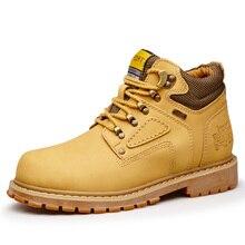 Желтый кот кожаные ботинки мужчин Повседневная обувь лесоматериалами 2020 земельные работы водонепроницаемый бота зима большой размер