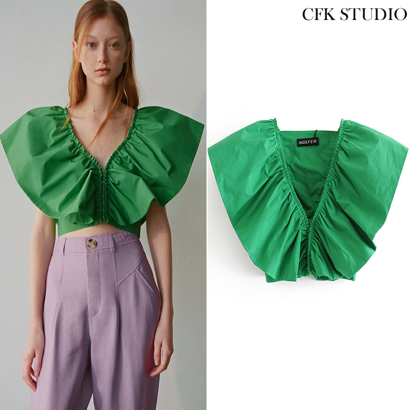 Sexy V-Neck Tank Top Women Summer 2020 Solid Ruffles Sleeveless Crop Top Female Short Hot Top Casual Green Camis Top