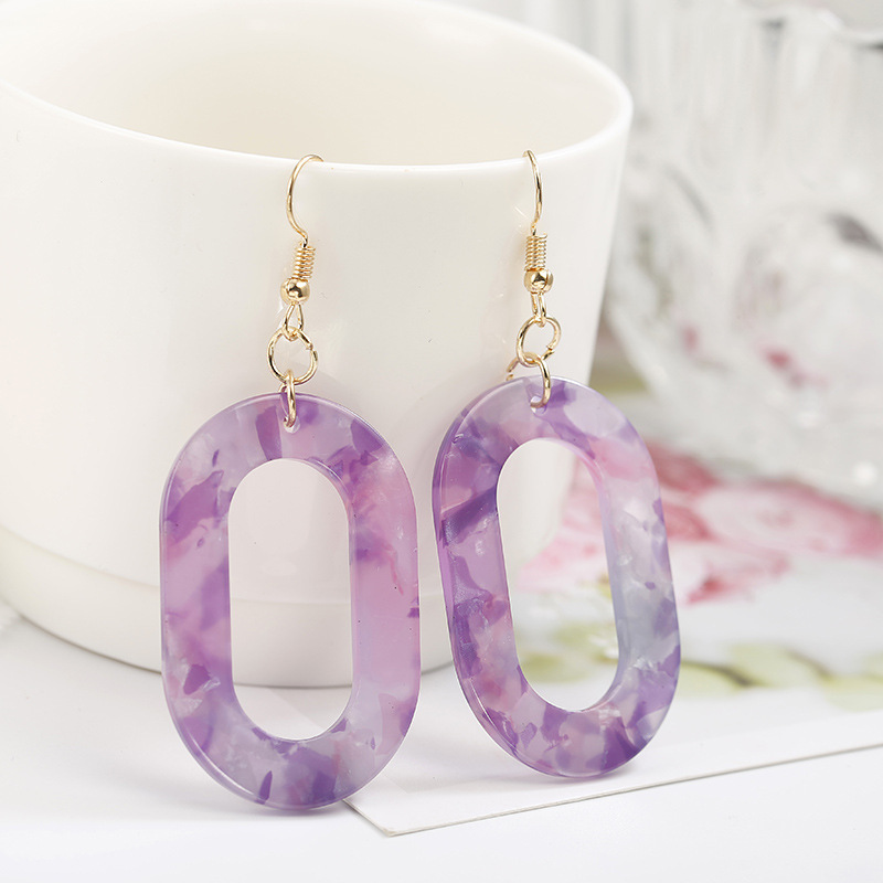 Hot Sale Acrylic Resin Leopard Dangle Earring For Women  2019 Fashion Jewelry Korean Geometric Round Earrings