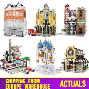 Image 1 - 16005 Streetview jouets de construction la Collection Antique boutique coin bureau de poste modèle blocs de construction enfants noël jouets cadeaux