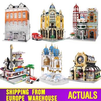 Juguetes De Construcción Streetview 16005, tienda de colección antigua, esquina, modelo de oficina de correos, bloques de construcción, juguetes navideños para niños, regalos