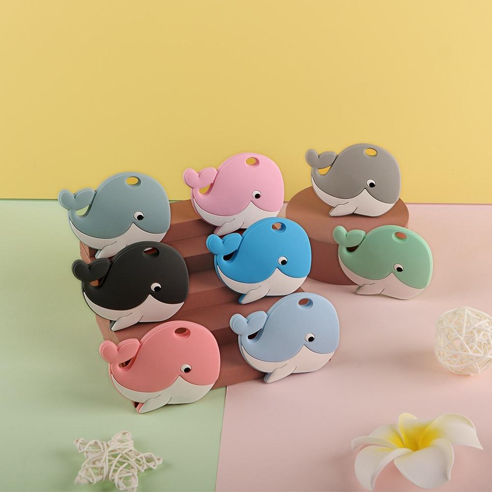 Sunrony 5Pcs Whale Silicone Teether Baby Care Nipple Chain Bead Accessories Cartoon Animal Teething Ring Food Grade BPA Free