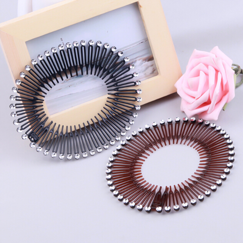 1PC Plastic Full Circle Stretch Diamond Flexible Comb Teeth Headband Hair Band Clip Face Wash Fixed Wig Hair Accessories