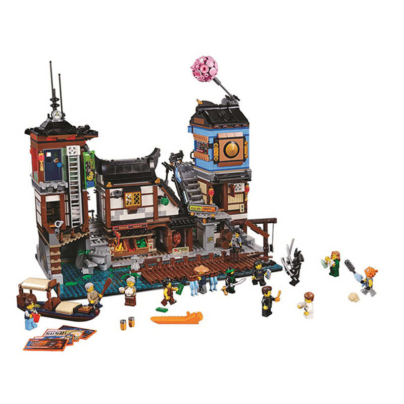 70657 06083 legoinglys Ninjago City Docks дом на лодке старый мир чайная комната 10941 модель строительные блоки игрушки Кирпичи подарок