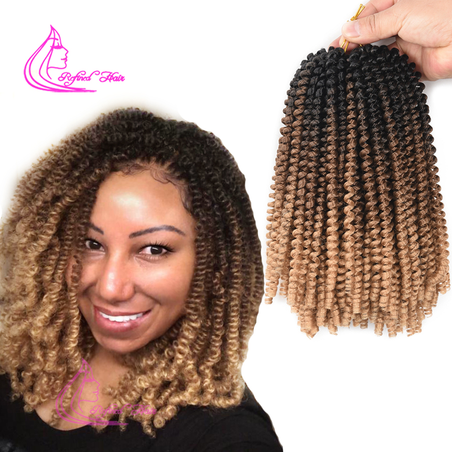 Ombre Spring Twist Hair 8 Inch Fluffy Crochet Braids Synthetic Hair Extensions Braids Kinky Curly Twists 110g/pack