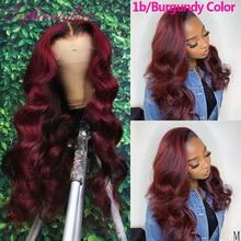 Парики для женщин 99J, бордовые, 13X4, на сетке спереди, цветные, 180%, на сетке спереди, человеческие волосы, парики для женщин с эффектом омбре, бо...