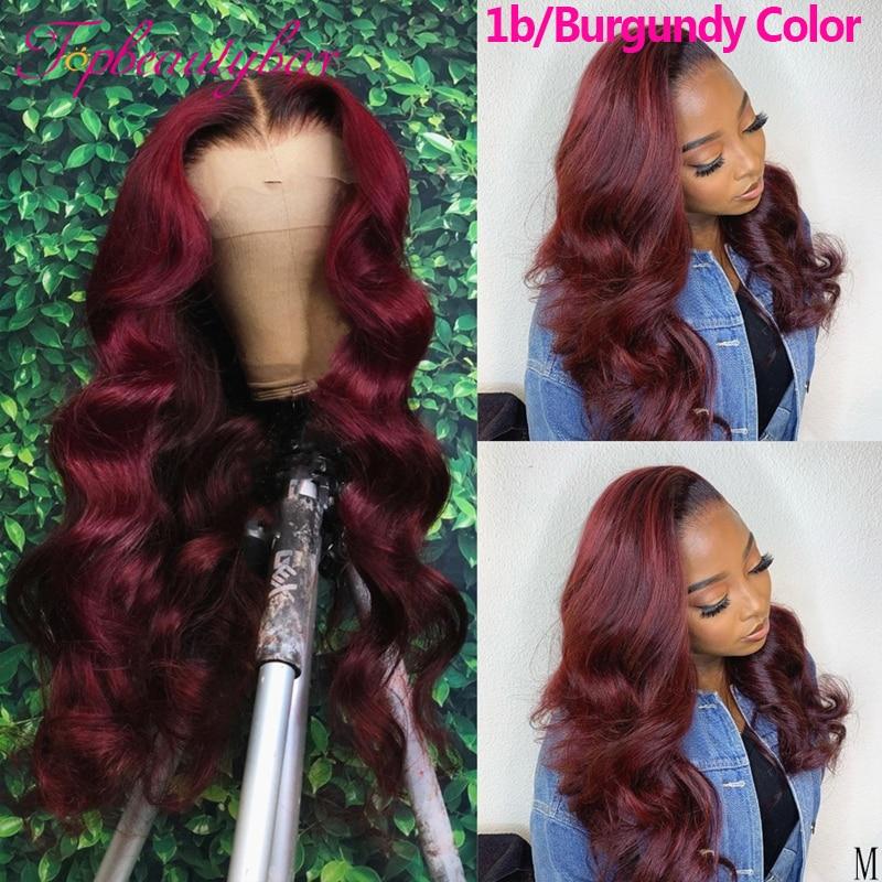 99J burgundii peruki typu Lace Front kolorowe 180% 13X6 koronki przodu włosów ludzkich peruk dla kobiet burgundii Ombre brazylijski ludzki włos peruki