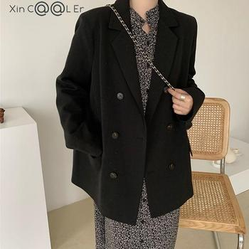 2021 Free Shipping Spring Autumn New Loose Black Coat Suit Women Fashion Simple Commuter Work Wear Jacket 1