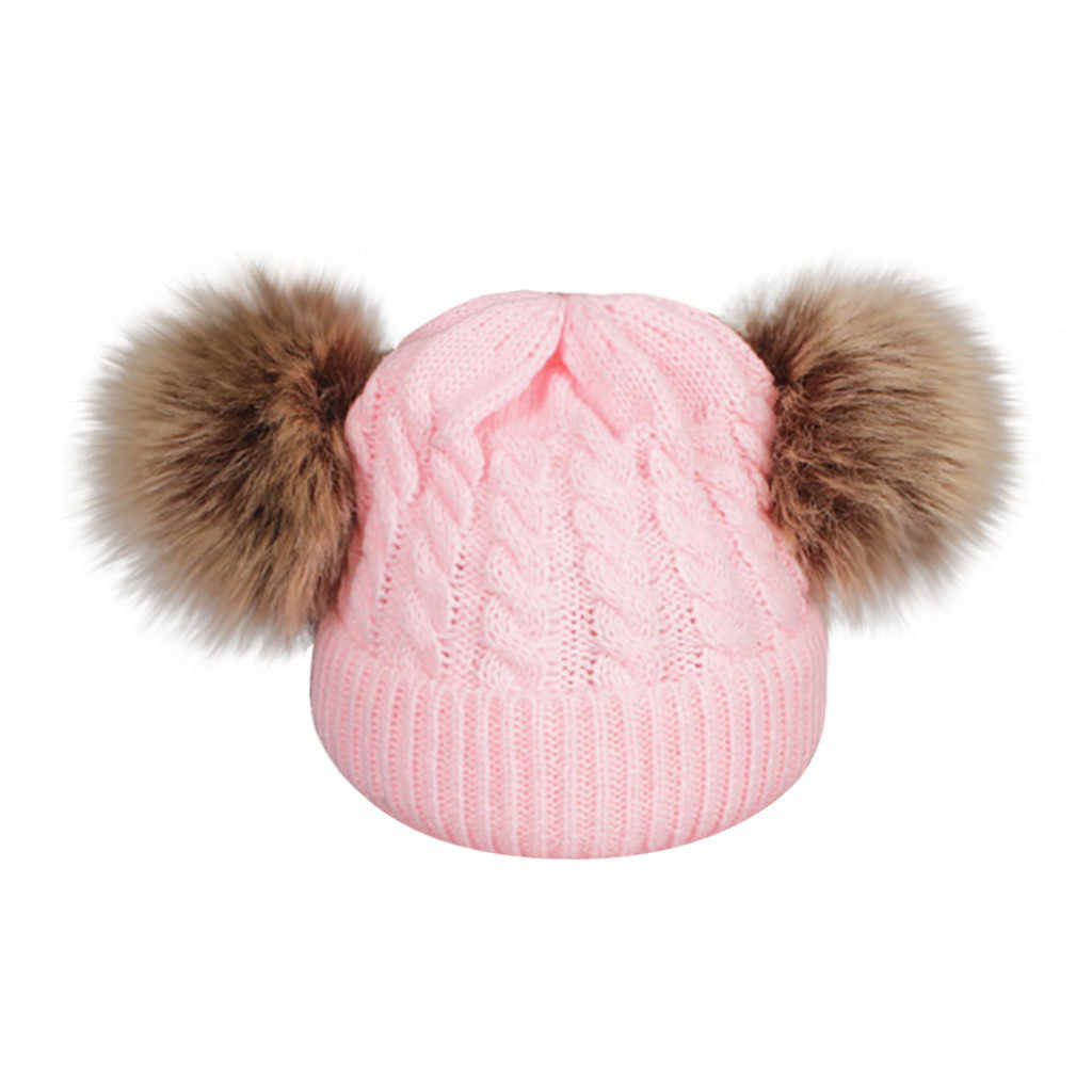 Kinder Baby Stricken Wolle Säumen Hut Warm Halten Winter Hiarball Pelz Ball Kappe Kinder Hut Baby Neugeborenen Fotografie Requisiten # y5