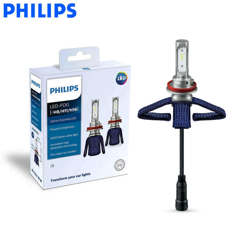 Philips LED H8 H11 H16 Ultinon Essential LED Car Fog Lamps 6000K Bright White Light Genuine Auto Bulbs 11366UE X2, Pair
