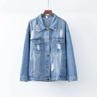 Vintage Hole Denim Loose Coat Autumn Long Sleeve Jeans Jacket Female Women Chaqueta Mujer Streetwear Ceket Boyfriend Za