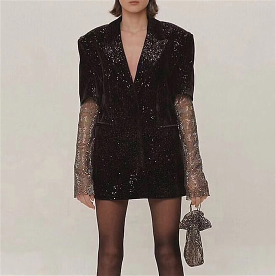 2019 High Quality Women Blazers Jacket Long Sleeve Crystal Sleeve Black Jacket Coat Women Blazers Jacket Winter Coat Clothes