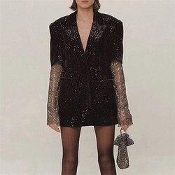 2019 Hoge Kwaliteit Vrouwen Blazers Jacket Lange Mouwen Crystal Mouwen Zwarte Jas Jas Vrouwen Blazers Jacket Winter Coat Kleding
