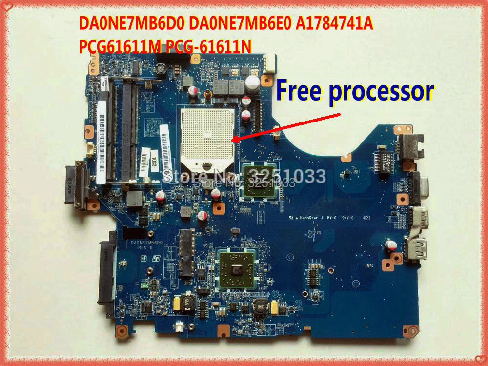 DA0NE7MB6D0 DA0NE7MB6E0 A1784741A PCG61611M PCG-61611N  Laptop Motherboard For Sony PCG-61611M  Ddr3 Main Board
