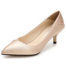 MAIERNISI zapatos de tacón con punta estrecha para mujer, calzado de oficina y carrera, de cuero, talla grande 36 45, para uso diario