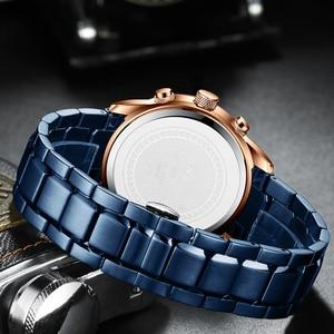 Image 5 - CRRJU رائجة البيع رجال الأعمال ساعة موضة الأزرق كرونوغراف الفولاذ المقاوم للصدأ ساعة اليد عادية مقاوم للماء ساعة relogio masculino