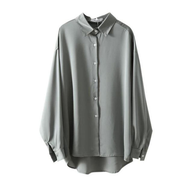 2020 Autumn Women Fashion Long Sleeves Satin Loose Blouse Vintage Femme V Neck Street Shirts Elegant Soft Blouse OF7527 5